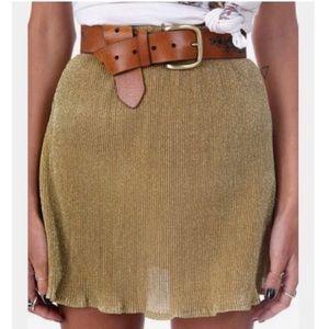 Verge girl elastic band gold skirt